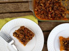 Vegan Sweet Potato Casserole with a brown sugar pecan topping!  A great Thanksgiving recipe!