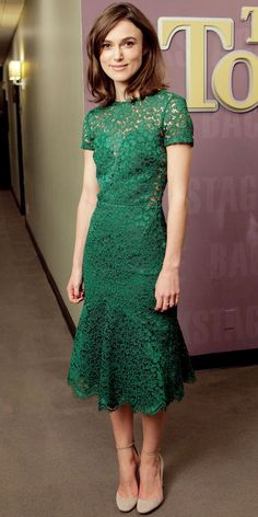 Keira Knightley - Look of the Day - InStyle. In a lace Burberry Prorsum sheath and ankle-strap heels.