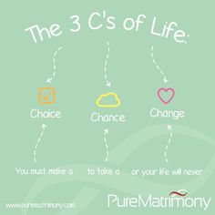 You must make a CHOICE to take a CHANCE or your life will never CHANGE #purematrimony #infographics