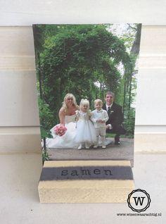 Speciaal cadeau voor een #bruiloft, fotoblokje met tekst.