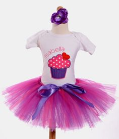 Big Cupcake Birthday Outfit - Pink & Purple
