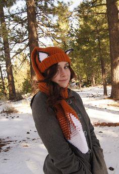 Crocheted Fox Scarf-Hat Combo    #crochetpattern