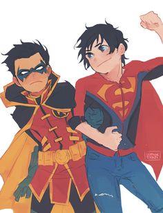 SuperBoy and Robin Nightwing, Batwoman, Damian Wayne, Jason Todd, Red Hood, Robins, Jon Kent, Heros Comics, Marvel Dc