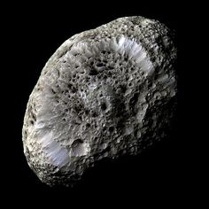 This stunning view of Saturn's moon Hyperion reveals in crisp detail the strange moon's surface.
