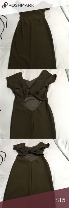 Fitted dress with cut out back Army green fitted dress with a cut out back Dresses