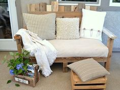 pallet bench with comfortable cushion.