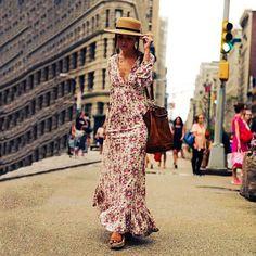 Womens Bohemia Printing Floral Maxi Dress Flounced Deep V Collar Long Sleeve Boho Long Casual Dresses Vestido Beach Wear Dresses, Vacation Dresses, Sexy Dresses, Dress Beach, Loose Dresses, Bohemian Dresses, Dress Long, Long Sleeve Maxi, Maxi Dress With Sleeves