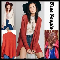 "FREE PEOPLE Long Cardigan Jacket Draped Cardi RETAIL PRICE: $108  NEW WITH TAGS  ***Model photos retrieved from WWW.Nordstrom.com & WWW.Lyst.com  FREE PEOPLE Long Cardigan Jacket Draped Cardi  * Oversized, drapey,  & relaxed loose knit silhouette * Incredibly soft, stretch-to-fit fabric  * Waterfall silhouette & long sleeves * About 27-30"" long, tunic length w/Hi-Lo sharkbite hem * Open Front No Trades ✅Offers Considered*✅ *Please use the blue 'offer' button to submit an offer. Fabric: 84%…"