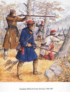 Milicien canadien-français aux frontières. Lors de la guerre de sept ans en Nouvelle-France