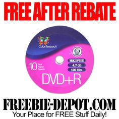 FREE AFTER REBATE – DVD+R 10-Pack – FREE Recordable Computer Discs - FREE Shipping - Exp 10/30/14