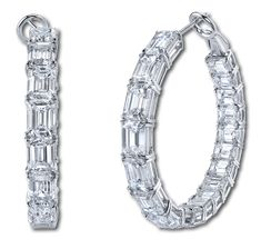 For maximum bling! Diamond hoops by Martin Katz.