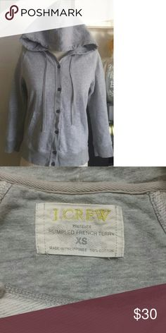 J. Crew Rumpled french terry jacket Super comfortable, 3/4 sleeve, no stains. Small hole on inside  sleeve not noticeable on. J. Crew Jackets & Coats