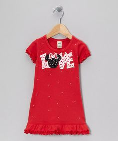 Take a look at this Red 'Love' Minnie Dress - Toddler & Girls by Rhinestone Fabuless on #zulily today!