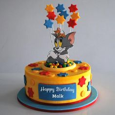 Write Name on Tom and Jerry Double Decker Birthday Cake.Print Name on Funny Cartoon Character Birthday Cake.Name Birthday Cute Cake Maker. Birthday Cake Write Name, Cartoon Birthday Cake, Birthday Cake Writing, Boys First Birthday Cake, Birthday Wishes Cake, Cake Name, Themed Birthday Cakes, Themed Cakes, Bolo Tom E Jerry