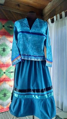 Women's two piece Native American STYLE ceremonial regalia in shades of blue...custom made to your size.