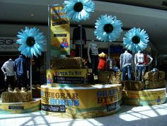 Giant blue daisies from Thomas FX added a new dimension to this Calgary Stampede display at the Calgary International Airport.