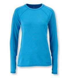 Power Dry Stretch Base Layer, Midweight Long-Sleeve Crew: Long Underwear Tops | Free Shipping at L.L.Bean - Getting ready for walking at night in cold weather!