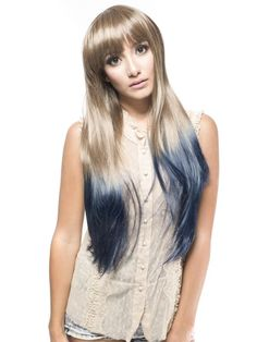 Nice, Cool Long Straight Synthetic Party Wig with Peacock Blue Ends$59.99