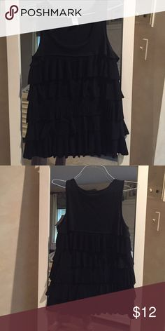 Black ruffled sleeveless top Cotton spandex. With cascading ruffles Design History Tops Tank Tops