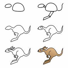 Straight from Australia, this cute cartoon kangaroo is ready to be drawn! :)
