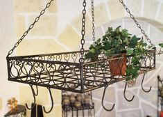 "Pot rack ""Cucina"" 76390 Pan rack 60cm Rack hanging from Ceiling Hanging shelf Hanger"