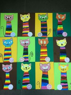 Cat shaped cardboard box pendant with colorful bellies and tails . - Maternity : Cat shaped cardboard box pendant with colorful bellies and tails Kindergarten Art, Preschool Art, Splat Le Chat, Art For Kids, Crafts For Kids, Summer Crafts, 3rd Grade Art, Rainbow Painting, Feather Crafts