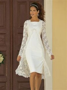 Tea Length Long Sleeve Lace Wedding Dress,Informal Modest Short Wedding Dress · Sancta Sophia · Online Store Powered by Storenvy Wedding Dress Over 40, Civil Wedding Dresses, Informal Wedding Dresses, Tea Length Wedding Dress, Lace Wedding, Older Bride Dresses, Mother Of Bride Outfits, Bridal Outfits, Bridal Dresses