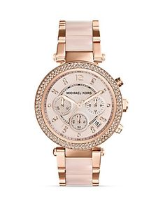 Michael Kors Blush Acetate and Rose Gold Tone Parker Glitz Watch, 33mm | Bloomingdale's