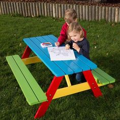 Highly coloured picnic bench ideal for ages 2 to Long lasting easy clean finish. Painted Picnic Tables, Round Picnic Table, Picnic Table Bench, Kids Outdoor Furniture, Kids Furniture, Kids Table And Chairs, Kid Table, Banco Exterior, Kids Bench