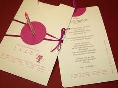 Außergewöhnlich und originell:    Einschiebekarte mit kleiner Kerze als Einladung zur Kommunion, Konfirmation, Firmung etc.