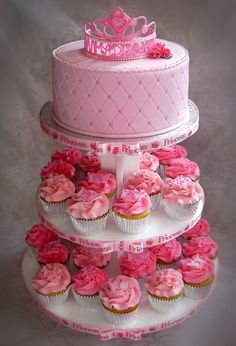 Princess Birthday Cake with cupcakes a great alternative to the conventional cake
