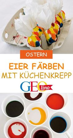 Coloring eggs: it's that easy!- Eier färben: So einfach geht's! We dye eggs in many bright colors – the trick … - Easter Crafts For Kids, Diy For Kids, Papier Absorbant, Egg Dye, Diy Home Crafts, Easter Baskets, Stephen Curry, Happy Easter, Bright Colors