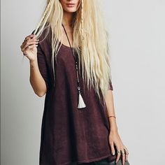 """Free People Melrose Tee Brand new without tags. Free People Melrose tee in the """"Aubergine"""" color. Perfect with boyfriend jeans and cute sandals for a boho look. Bought it at my local Free People store but ended up sitting in my closet. In a SOLD OUT color <3 Free People Tops"""