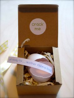 Gender Reveal Eggs! Pregnant and looking for a fun way to reveal the sex of your baby to your friends and family? These little gifts contain a hollowed out egg that once cracked reveals a paper with the baby's sex. They are fun to use and are a great way to capture each person's individual reaction to the reveal since you can take a photo of each person opening his/her little package! $5 each, no minimum.