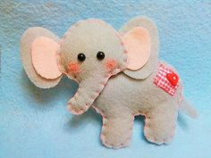 Felt Elephant Plush Ornament, Felt Animal, Elephant Plush, Felt Plush, Animal Plush, Blue Elephant