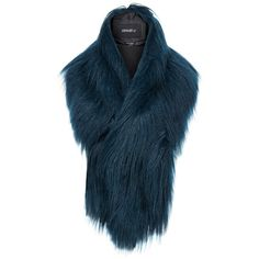 Unreal Fur Furocious Blue Thread Through Faux Fur Scarf (180 RON) ❤ liked on Polyvore featuring accessories, scarves, blue, faux fur scarves, blue shawl, faux fur shawl, fake fur shawl and blue scarves