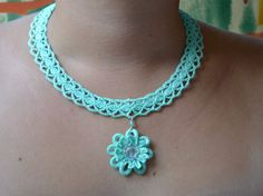 turquoise crochet necklace embroidered with small by HanciCrochets, €19.00