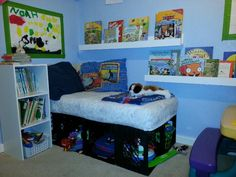 Reading corner with crib mattress and crates.  Used the crates for storage of toys. They love it!!!