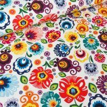 Cotton Fabric Folk- Red, Blue, Teal, Orange, Violet -  Yard, Fat Quarter