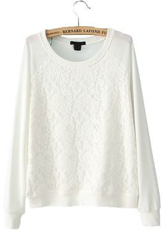 White Patchwork Lace Long Sleeve Cotton Blend Sweatshirt