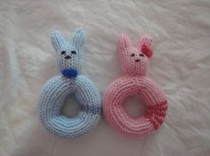 Hand Knit Rattle Baby Bunny Rattle Girl Toy Rattle