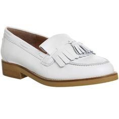 Office Extravaganza Loafers (140 NZD) ❤ liked on Polyvore featuring shoes, loafers, flats, new off white leather, women, fringe shoes, leather woven loafers, leather loafers, woven leather flats and tassle loafers