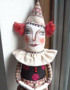 Original art doll Folk Art   Harlequin made by hand  OOAK.