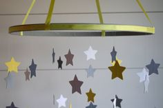 Baby Crib Mobile - Star Mobile in Yellow and Gray, Baby Mobile, Nursery Mobile, Baby Shower Gift, Nursery Decor
