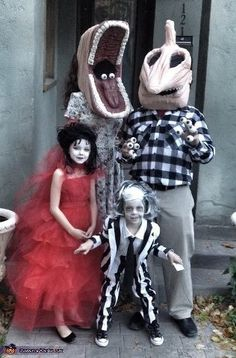 Beetlejuice movie characters as costumes! This is an amazing family costume idea, Matt would love it!