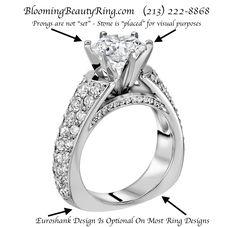BloomingBeautyRing.com  (213) 222-8868  - Custom handmade #engagementring with optional #Euroshank style band