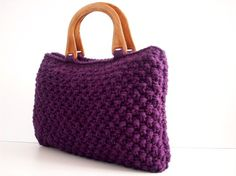 Purple Knit Bag/Purse by NzLbags on Etsy