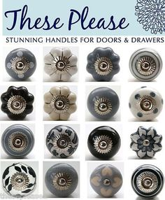 These Please Mixed Blue & White Ceramic Door Knobs Handles Pulls ...