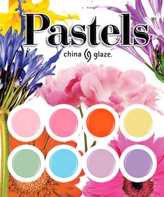 Live In Colour! Live in Pastel!  For a spring bouquet that lasts, pick a petal-inspired polish from the new China Glaze® Pastel collection. The lively, floral palette includes eight new shades perfectly selected for breezy spring days. Soft, sweet pinks are sprouting up next to lively orange, soothing sky blue and perky purples. These blooming shades are signs that winter has thawed and summer is on its way.   #ChinaGlazePastels