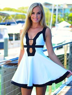 Super cute white and black deep v neck dress
